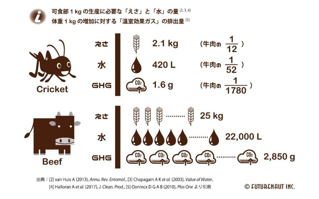 牛とコオロギの環境負荷と飼料負荷の違い
