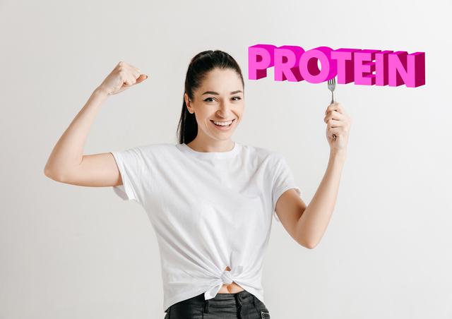 Woman in shirt with the folk isolated on white. Female model holding a plate with letters of word Protein. Choosing healthy eating, diet, organic nutrition and nature friendy lifestyle.